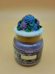 NEW YANKEE CANDLE WISTERIA  3.7 OZ JAR  RETIRED BLACK BAND WITH FLOWERED LID