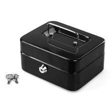 "6""Inch Small Key Lock Petty Cash / Piggy Bank Money Box Pot Safe Lockable -Black"