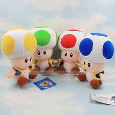 "4PCS/SET Super Mario Bros Red Green Blue Yellow Mushroom Toad Plush Toys 7"" 18cm"
