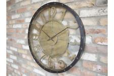 70cm Industrial Style Black Gold Metal Glass Clock Porthole Nautical Large