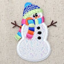 Iron On Embroidered Applique Patch Christmas Confetti Winter Snowman Beanie Hat
