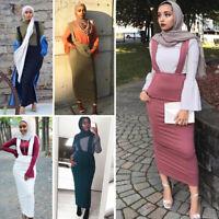 Women Muslim Suspender Skirt Bodycon High Waist Stretch Maxi Long Pencil Dress