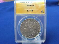 Rare Date 1884-S Morgan Silver Dollar ANACS EF45 Nice Coin