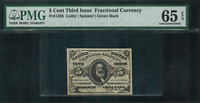 Fr-1238 $0.05 Third Issue Fractional Currency - 5 Cent - Green Back - PMG 65 EPQ