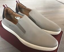 550$ Bally Orniel 54 Light Gray Leather Slip on Shoes size US 9