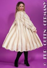 EUR size L WHITE / BEIGE CROSS MINK FUR COAT with rolled sleeves A-LINE
