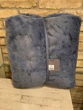 Restoration Hardware Ultra Fine Plush Indigo Blue Large Throw Blanket 50x60