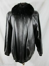 Black Leather Jacket w/ Removable Black Fur Collar ZIPPER FRONT Lined Small -Med
