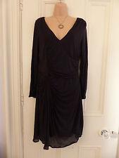 Jigsaw size S black v neck wrap style ruched long sleeve knee length dress