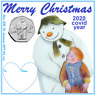 Rare The snowman Christmas display card with a 2019  brilliant/uncirculated 50p