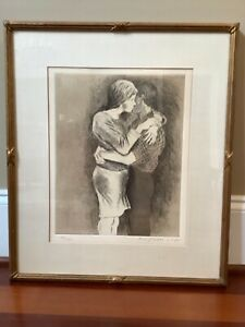 Embrace ~ Pencil Signed Etching & Aquatint by Raphael Soyer ~ Numbered 93 / 250