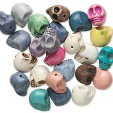 Bead Mix Skull, Howlite (imit), Mixed Colors, 18x15mm, 10 Qty