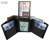 BLACK MENS GENUINE LEATHER THIN TRIFOLD FLAP TOP WALLET 2 ID WINDOW