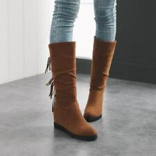 Ladies Knee High Boots Slouch Tassel Decor Wedge Heels Pull On Casual Warm Shoes
