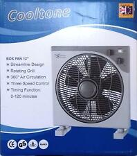 "Cooltone 12"" Oscillating Compact Powerful Box Fan 360 Air Circulation Timer UK"