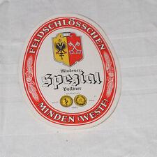 Bier Etikett MINDENER FELDSCHLÖßCHEN Weser Pils Spezial Vollbier