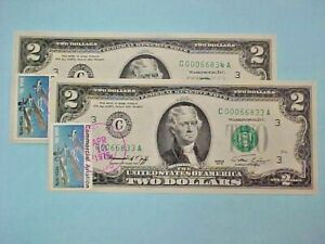 1976 $2 Two Dollar Bills, First Day of Issue--stamped 4/13/1976 (2) Consecutive