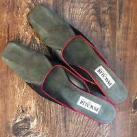Pancaldi Size 9 AA Italian Shoe Olive Green Suede Black Red Heel Slip On Mule