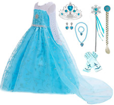 Ice Snow Queen Glitter Elsa Princess Dress