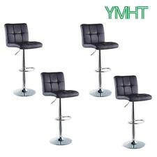 Set of 4 Bar Stools Adjustable Swive PU Leather Counter Heightl Pub Chairs Black
