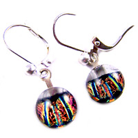 "DICHROIC Glass Earrings Clear Copper Orange Blue Striped Lever Dangle 1/4"" 9mm"