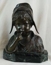 "Giuseppe (""Jospeph"") D'Asti Bronze Bust of a Bonneted Girl"