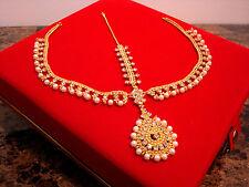 Maang Tikka Indian Bridal Head Chain Latest Pakistani Matha Patti Pearl Stone