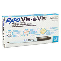 EXPO Vis-à-Vis Wet-Erase Marker Fine Point Black Dozen 16001