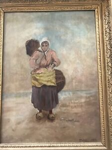 """Dutch lady, Oil on Canvas, 23"""" x 31"""", signed and dated S W-G, 1899"""