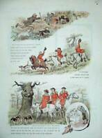 Old Antique Print 1884 Fox Hunting Sport Men Horses Hounds Dogs Country 19th