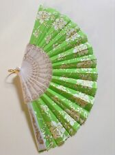 Deluxe Foldable Hand Fan Green White Gold Damask Silk and Plastic New Costumes