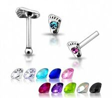 1 22g 6mm Silver Foot Clear CZ GEM Nose Stud Pin N082