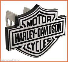 "Harley Davidson Shield Logo 1 1/4"" - 2"" Brushed Metal Hitch Plug Receiver Cover"