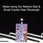 """20 QTY - SMALL Rectangle 3/4"""" x 1 1/4"""" CRYSTAL CLEAR Glass Photo Pendant Jewelry"""