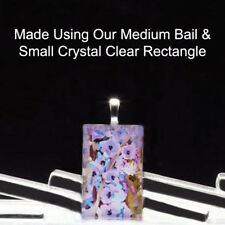 "20 QTY - SMALL Rectangle 3/4"" x 1 1/4"" CRYSTAL CLEAR Glass Photo Pendant Jewelry"