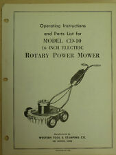 "WESTERN TOOL 16"" ELECTRIC ROTARY POWER MOWER INSTRUTIONS, PARTS MANUAL CD-10"