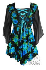 Dare to Wear BEWITCHED Chiffon Sleeves Asym Corset Top TEAL Rose - Fit 10-12