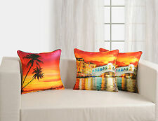 Digital Printed Colorful Reversible Venice1 Silk Cushion Covers 45x45 Pack of 5