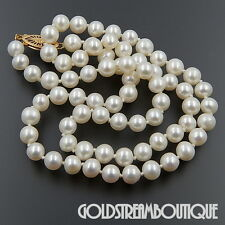 """JAPANESE AKOYA WHITE CULTURED PEARL 5.5-6 mm 38.5"""" NECKLACE WITH 14KT GOLD CLASP"""