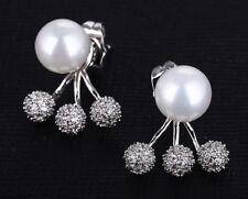 Luxus Muschelkernperlen Ohrringe mit Swarovski® Perlen Zirkonia Silber 18K Neu