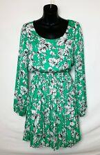 Forever 21 Women's LS Above Knee Green Dress w Black & White Floral Print! Sz S