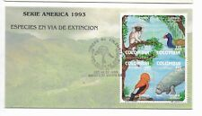 COLOMBIA 1993 AMERICA UPAEP ENDANGERED FAUNA BLOCK OF FOUR ON FIRST DAY COVER