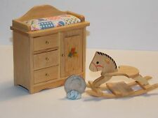 Dollhouse Miniature Oak  Baby Changing Table & Horse 1:12  one inch scale  E82
