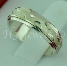 18k solid white gold band ring diamond cut #3721 h3jewels size  6.5 spinner