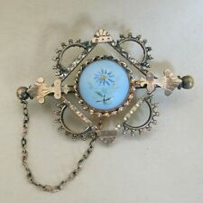 with Painted Glass Center [4485] Victorian Gold-Filled Brooch Rare Find