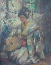 Anonyme (XIX-XX) HsT Geisha - 芸者 jouant du shamisen Années Nabi Années 20 30s