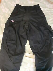Vtg UFO 90's Black Parachute Cargo Drawstring Pants Rave Men's Sz XS Baggy