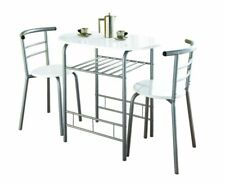 G-0075 White High Gloss Dining Table and 2 Chairs Set Kitchen DAM BOX