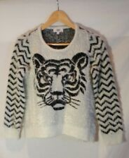 Seed Heritage Jumper 12 Knit White Black Tiger Print Pullover Soft Casual