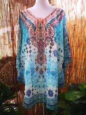 Loose Sheer Embellished Kaftan Round Hem Print Size 14-16-18-20 (one size)